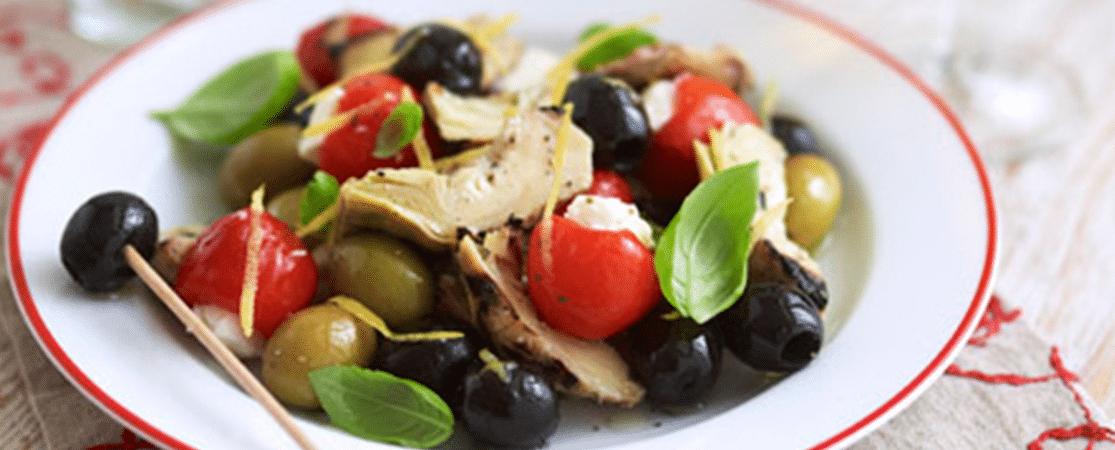 Poivrons farcis au fromage, artichauts et ses olives d'Espagne