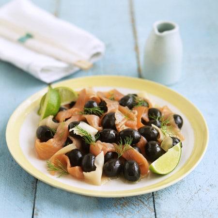 Olives de wasabi et de gingembre au saumon fumé